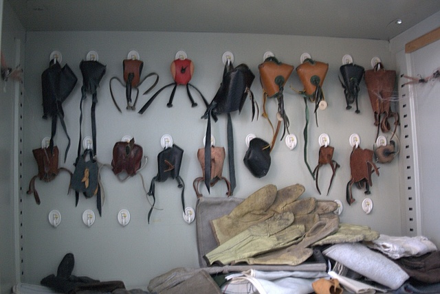A selection of leather hoods used by the centre