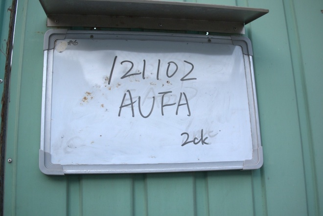 This sign reveals the occupant is an Amur Falcon taken into care in November 2012 and requiring 2 chicks a day.