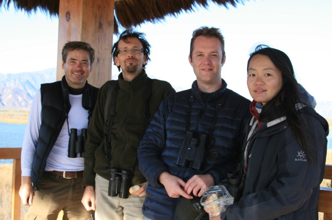The team at Yeyahu NR, shortly after seeing our first PALLAS'S SANDGROUSE.  From left to right: Terry, Eugeni, Ben and Wu Lan.