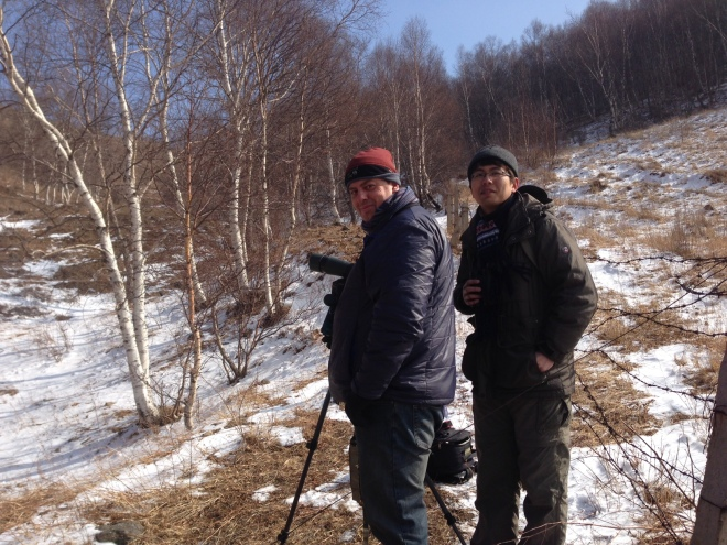 Alastair and Li Xiaomai just after watching the Przevalski's Redstart at Lingshan.