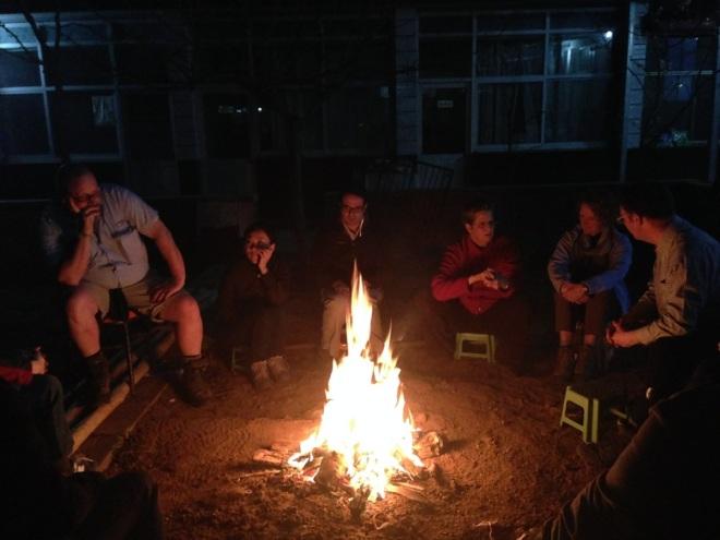 Enjoying the camp fire after dinner...