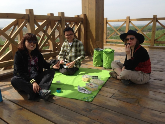 Enjoying a picnic in the watchtower at Yeyahu NR.