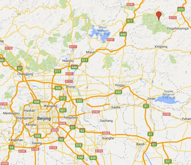 The location of Wulingshan (red marker) in relation to Beijing.