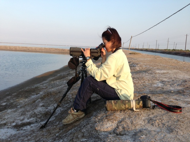 Jennifer scanning waders at Nanpu.