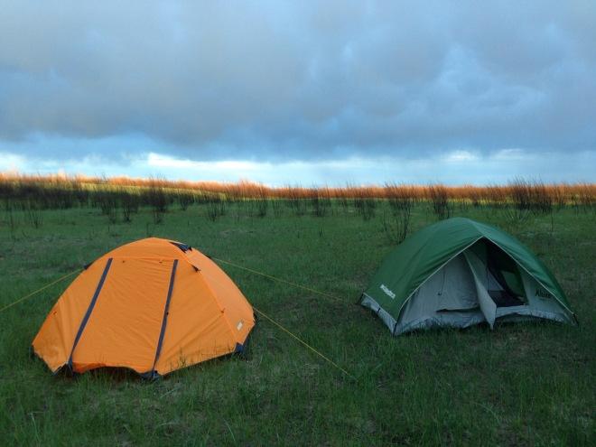 tents at sunset on Mongolian grassland