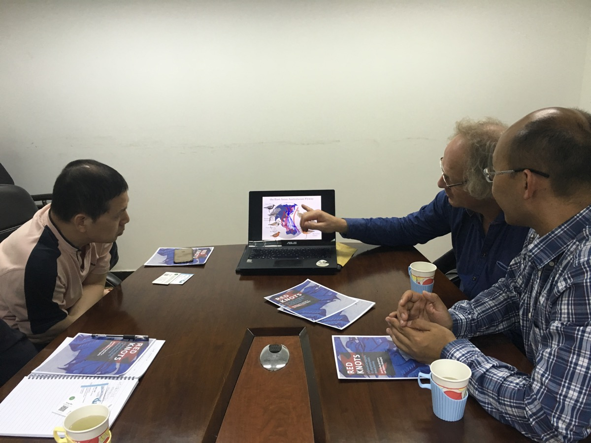 Professor Piersma explaining his research findings to officials at the CBCGDF.